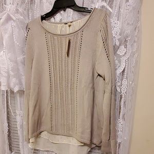 Sweater with blouse attached